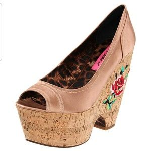 Betsey Johnson Rosetaa Floral Peep Toe Wedges